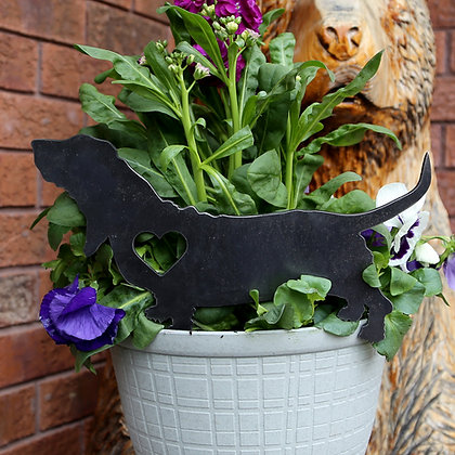 Metal Basset Hound Sign for Flower Pot