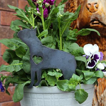 Metal Boston Terrier Sign for Flower Pot