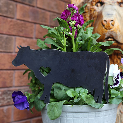 Metal Cow Sign for Flower Pot