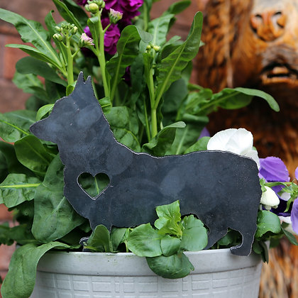 Metal Scottish Terrier Sign for Flower Pot