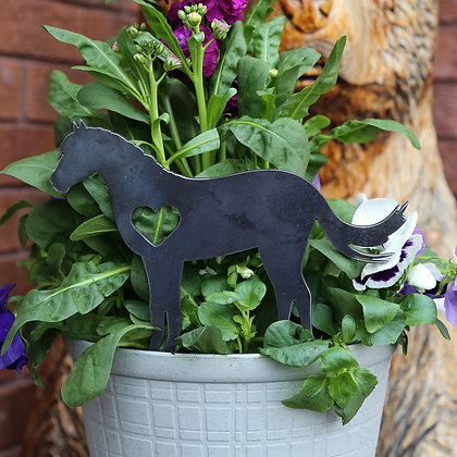 Metal Horse Sign for Flower Pot