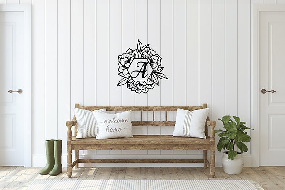 "24"" W Floral Hexagon Monogram"