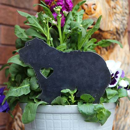 Metal Bearded Collie Sign for Flower Pot
