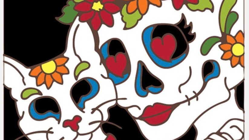 Day of the Dead Woman and Cat Tile