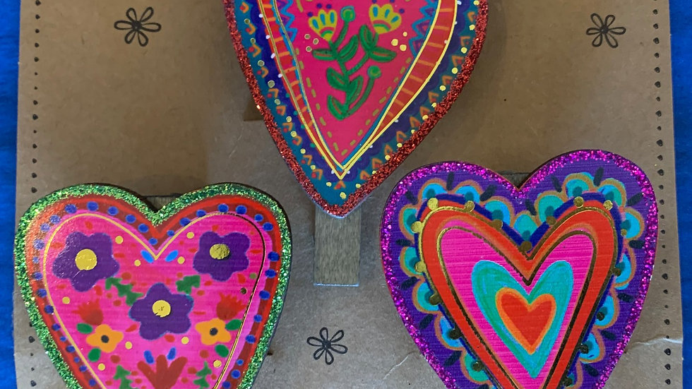 Three Heart Magnetic Happy Clips