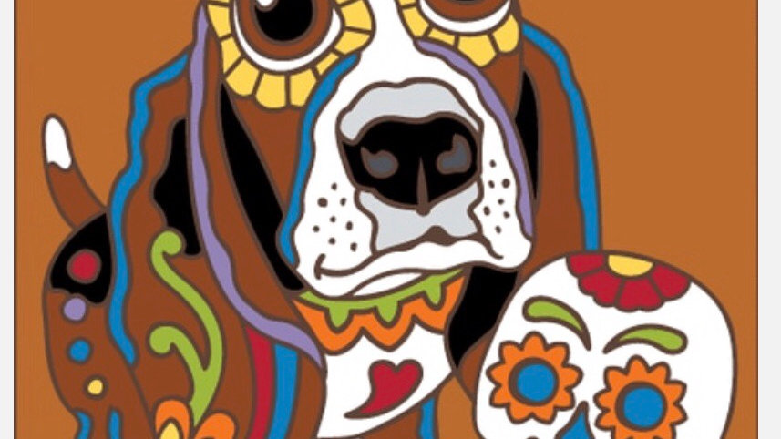 Day of the Dead Basset Hound Tile