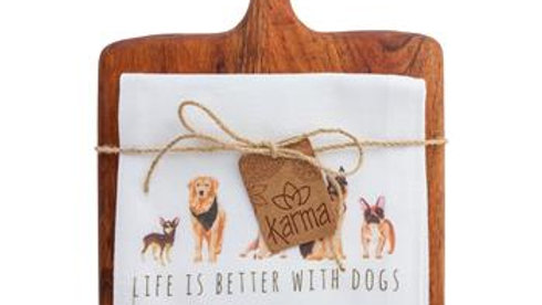 Life is Better with Dogs Dish Towel and Cutting Board