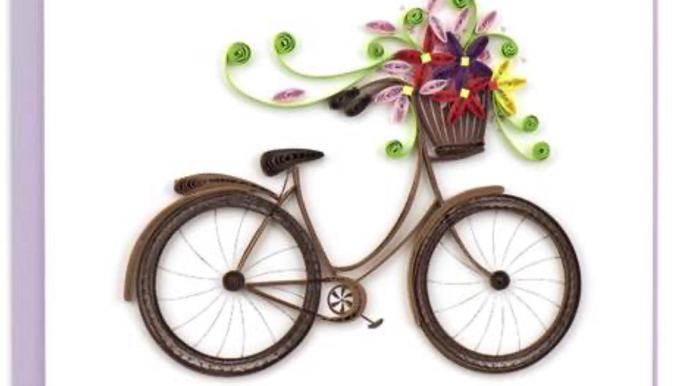 Bicycle with Floral Basket Quillimg Card