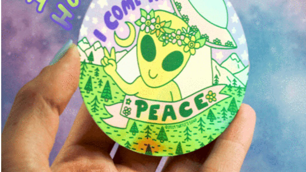 Holographic Alien Sticker by Turtle's Soup