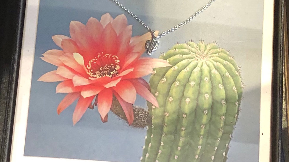 Saguaro Necklace and Earring Set, Silver