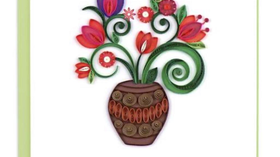 Terra-cotta  Bouquet Quilling Card