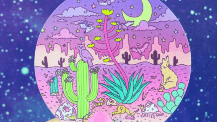 Holographic Desert Sticker by Turtle's Soup