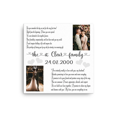 glitter canvases - wedding vows