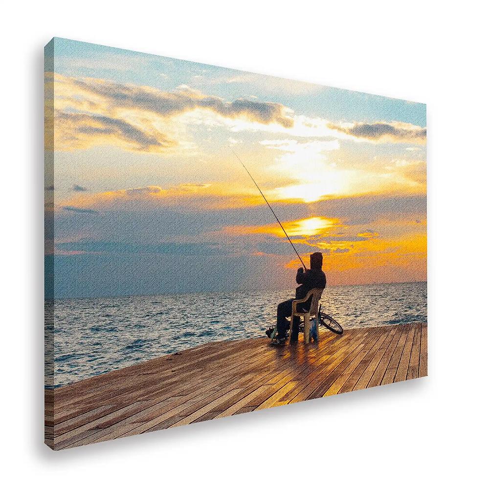 Fisherman on a glitter canvas