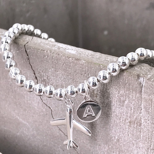 Plane with Initial Silver 925 Bracelet
