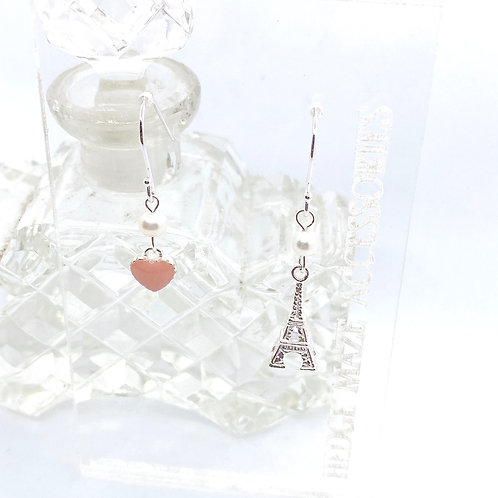 Eiffel Tower with Sweet Heart Silver 925 & Fresh Water Pearl Earrings