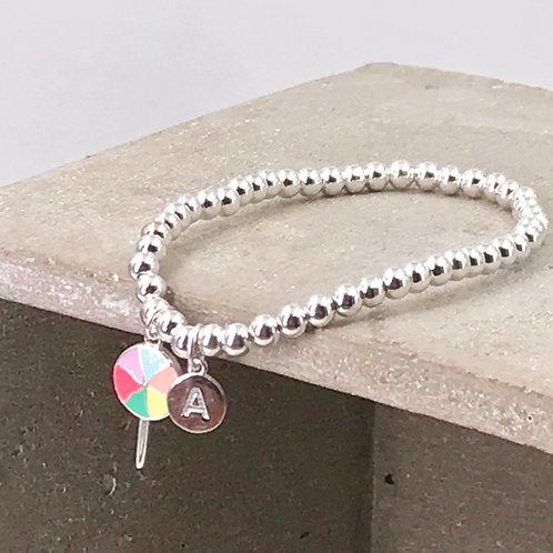 Lollipop Initial Silver 925 Bracelet