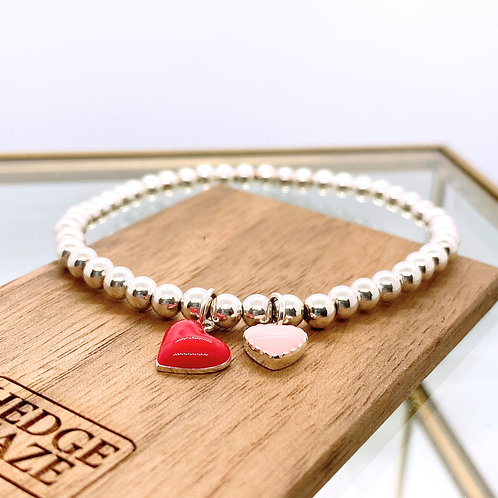 Two Hearts (Red & Pink) Silver 925 Bracelet