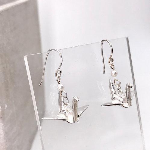 Orizuru Silver 925 & Fresh Water Pearl Earrings