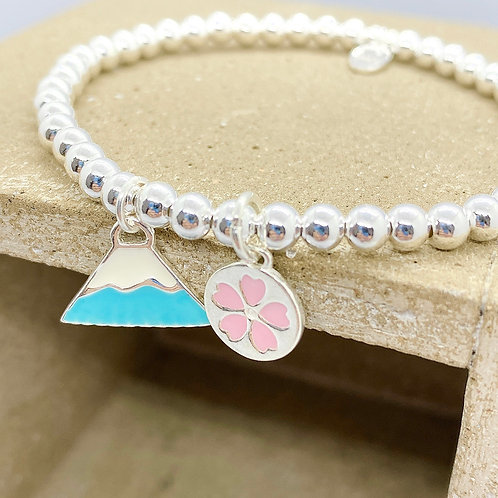 Blue Mt. Fuji with Sakura in Circle Silver 925 Bracelet
