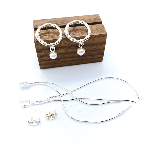 Circle with Tassel Silver 925 & Fresh Water Pearl Earrings