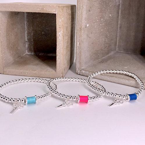 Spindle and Scissors Silver 925 Bracelet