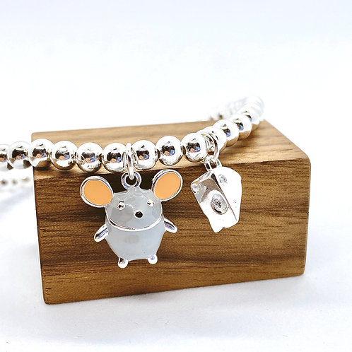 Mouse with Cheese Silver 925 Bracelet
