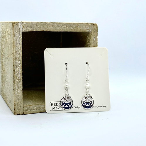 Cutie Cat and Fish Silver 925 Fresh Water Pearl Earrings