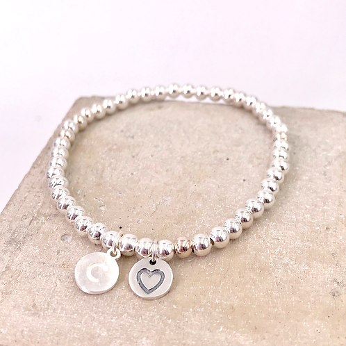 Sweet Heart Initial Silver 925 Bracelet
