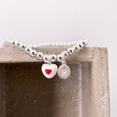 Sweet White Heart Initial Silver 925 Bracelet