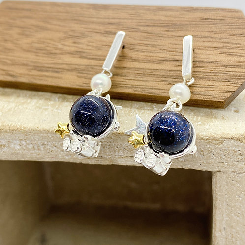 Astronaut with Star Silver 925 Fresh Water Pearl Earrings