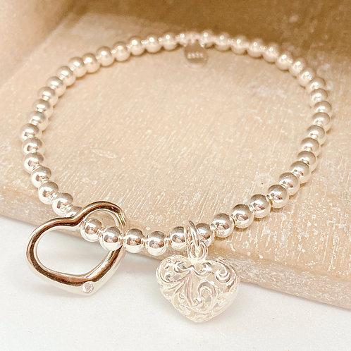 Two Sweet Hearts Silver 925 Bracelet