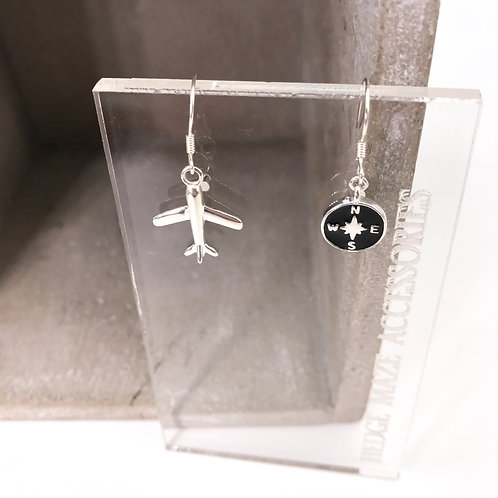 Plane with Compass Silver 925 Earrings