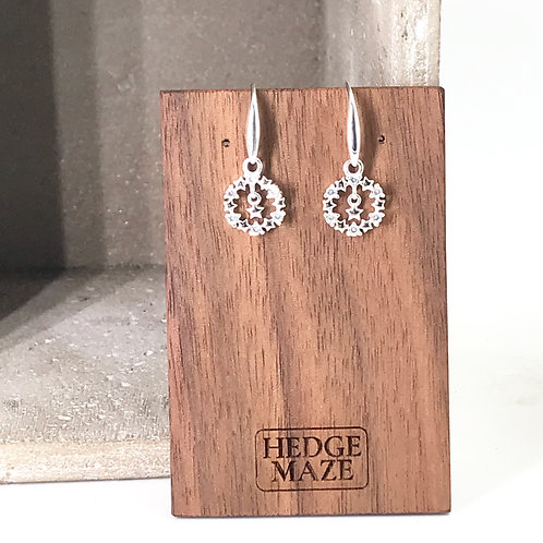 Star in Xmas Circle Silver 925 Earrings