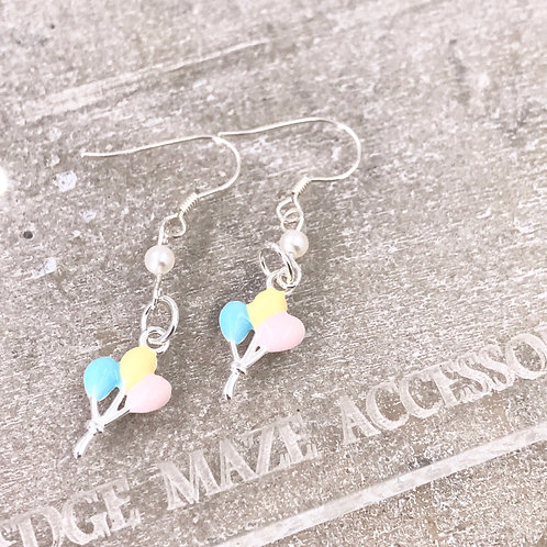 Colourful Ballons Silver 925 & Fresh Water Pearl Earrings