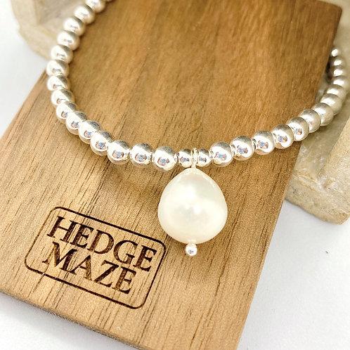 Raindrop Fresh Water Pearl Silver 925 Bracelet