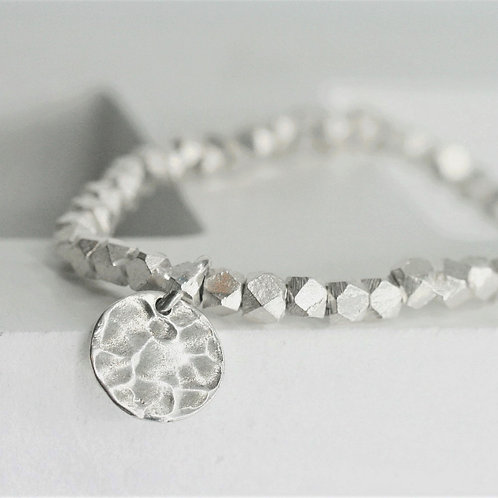 Silver 925 Rhombus with Circle Pendent Bracelet