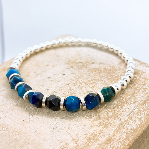 Blue Tiger's Eye Silver 925 Bracelet