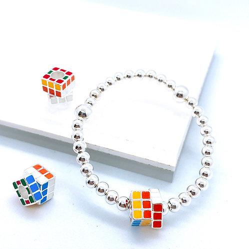 Rubik's Cube Silver 925 Bracelet