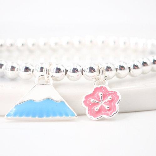 Blue Mt. Fuji with Sakura Silver 925 Bracelet
