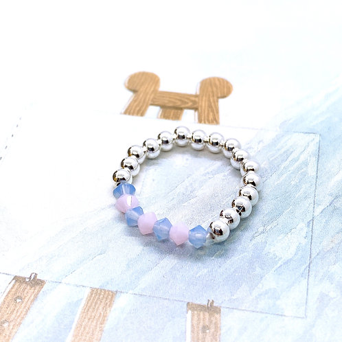 Silver 925 & Swarovski Crystal Ring 1 (Pink, White, Blue)
