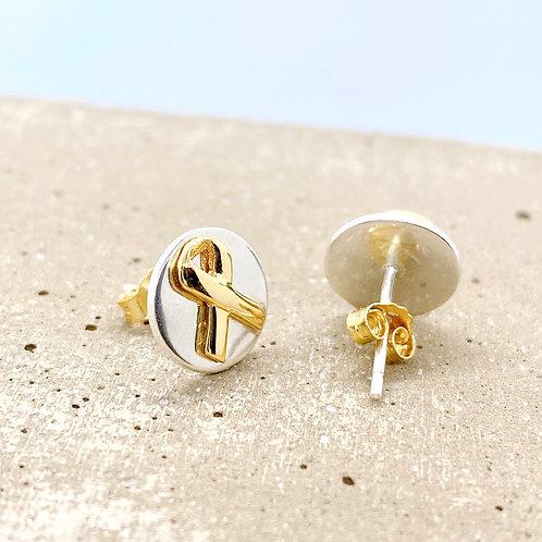Awareness Ribbons in Circle S925 Earrings