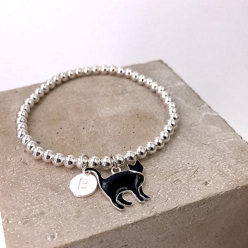 Little Black Cat with Initial Silver 925 Bracelet