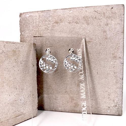 Leaves in Circle Silver 925 Earrings