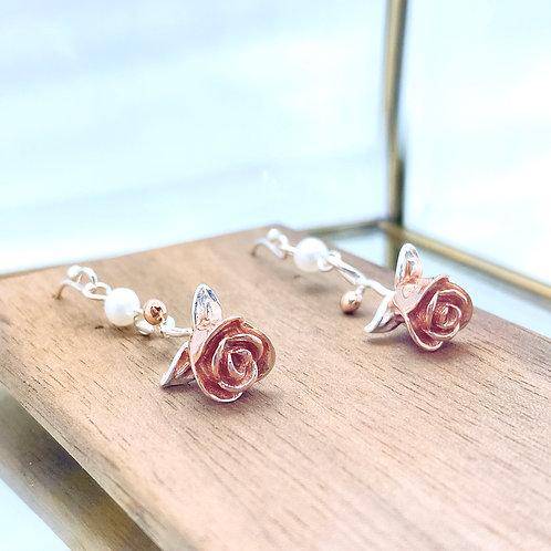Rose Silver 925 & Fresh Water Pearl Earrings