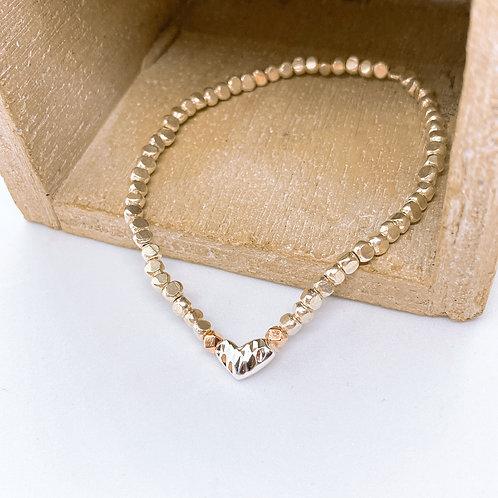 Simple Heart Silver 925 Rhombus Bracelet