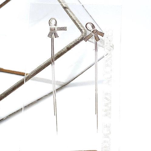Ribbon with Tassel Silver 925 Earrings