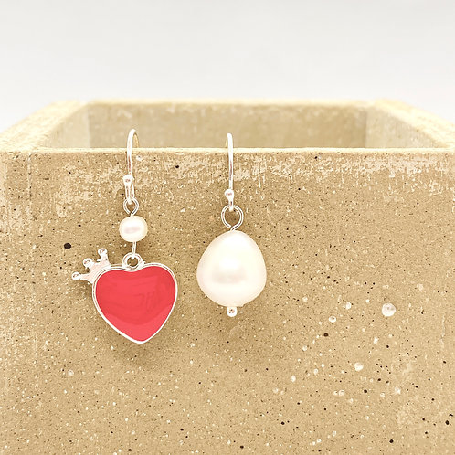 Red Heart with Crown Raindrop Fresh Water Pearl Earring