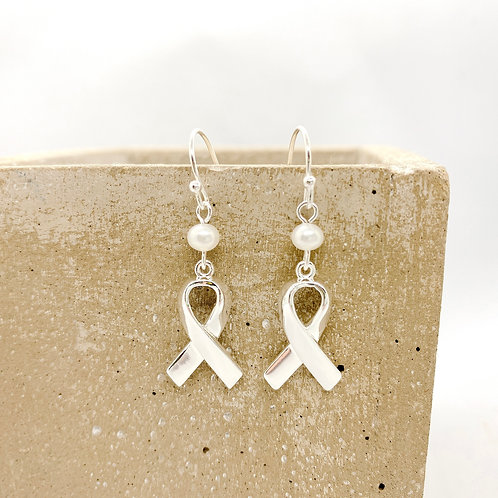 Awareness Ribbons 925 Fresh Water Pearl Earrings