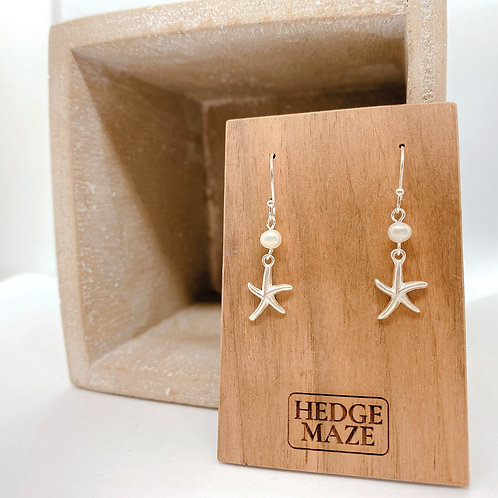 Starfish Silver 925 Fresh Water Pearl Earrings